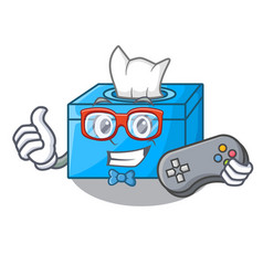 Gamer cartoon tissue box on a sideboard vector