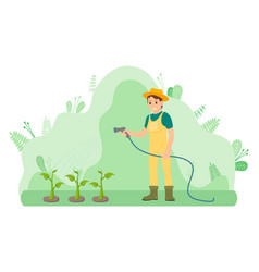Gardener girl is watering plants using spray hose vector