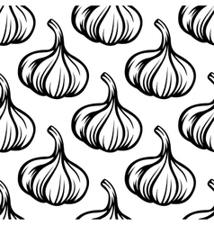 Garlic vegetables colorless seamless pattern vector