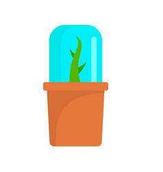 Glass plant pot icon flat style vector