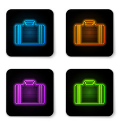 glowing neon suitcase for travel icon isolated on vector image