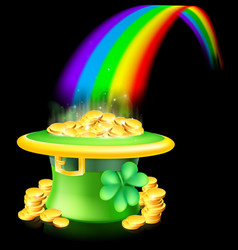 gold at the end of the rainbow vector image