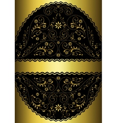 Gold ribbon in gold wavy openwork oval frame vector