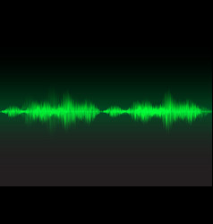 green sound waves glow light vector image