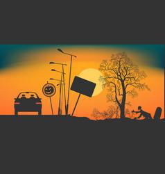Halloween night on the road vector