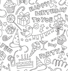 Happy birthday party doodle black and white vector
