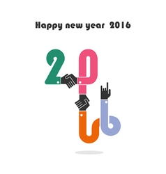 Happy New Year 2016 Colorful greeting card design vector image