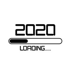 happy new year 2020 with loading icon flat style vector image