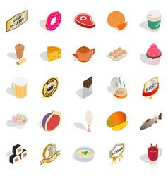 Harmful food icons set isometric style vector