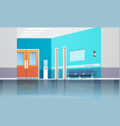 Hospital corridor waiting hall with information vector