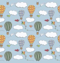 Hot air baloons seamless pattern vector