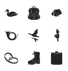 Hunting set icons in black style Big collection vector