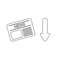 icon concept newspaper with arrow down vector image