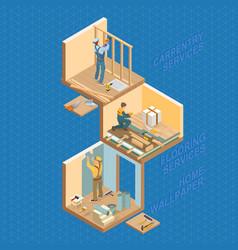 isometric interior repairs concept flat 3d vector image