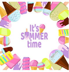it is summer time - background with ice cream vector image
