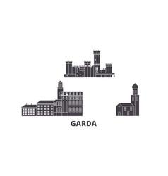Italy garda flat travel skyline set italy garda vector