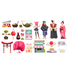 japan life icons collection vector image