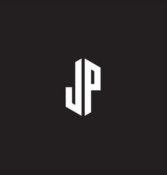 Jp logo monogram with hexagon shape style design vector