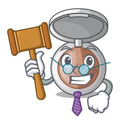 Judge makeup powder on wooden cartoon table vector