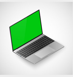 laptop isometric view realistic laptop with green vector image
