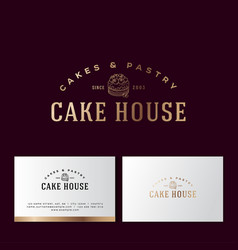 Logo cake pastry gold bakery business card vector