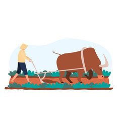 male asian character is going to farm rice fields vector image