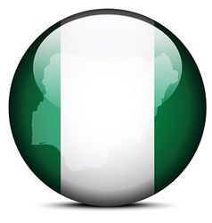 Map on flag button of Federal Republic Nigeria vector