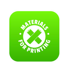 Materials for printing icon green vector