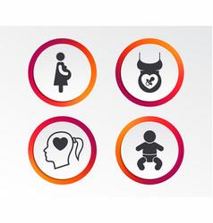 Maternity icons bainfant pregnancy dummy vector