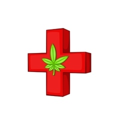 Medical marijuana sign icon cartoon style vector