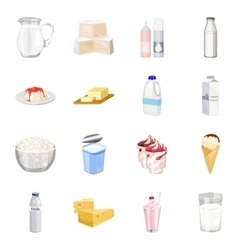 Milk product and sweet set icons in cartoon style vector