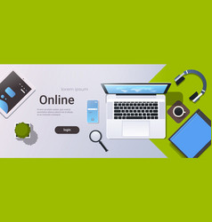 mobile computer app online top angle view vector image