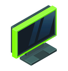 modern green gamer monitor with reflections on the vector image