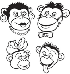 monkey family vector image