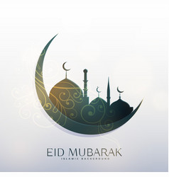 Moon and mosque with floral decoration for eid vector