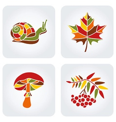 Mosaic Autumn Icons vector image