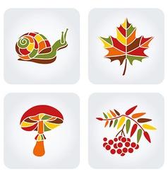 Mosaic Autumn Icons vector