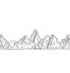 mountain range outline nature drawing pencil vector image