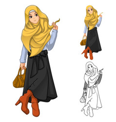 Muslim Woman Fashion Wearing Yellow Veil or Scarf vector