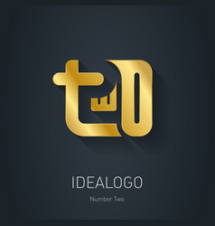 Number 2 Gold logo Metallic logotype template vector