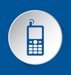 old mobile phone simple blue icon on white button vector image