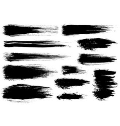 Paint brush black ink grunge brush strokes vector