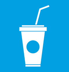 Paper cup with straw icon white vector