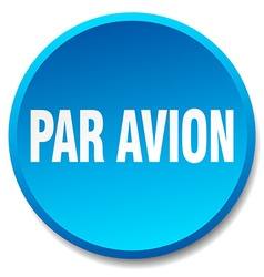 Par avion blue round flat isolated push button vector