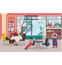 People have lunch in restaurant homelike interior vector