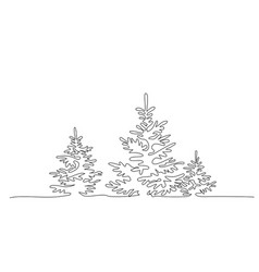 pine fir trees in a forest continuous one line vector image