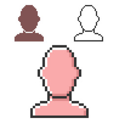 Pixel icon male user picture in three variants vector