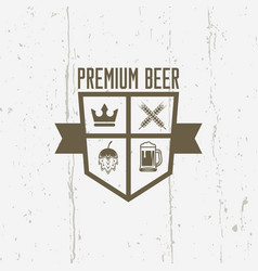 Premium beer shield isolated vintage label vector