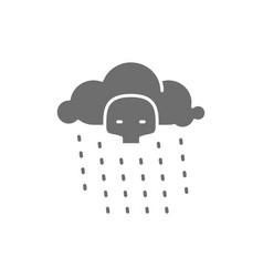 Radioactive rain gray icon isolated on white vector