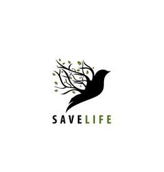 Save life bird tree vector
